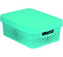Úložný box INFINITY 11l s víkem modrý puntíky