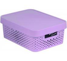 Úložný box INFINITY 11l s víkem růžový puntíky