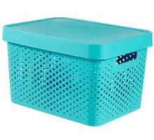 Úložný box INFINITY 17l s víkem modrý puntíky